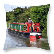 Canal Boat Throw Pillow