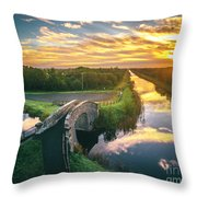 Canal Sunrise Throw Pillow