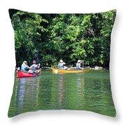 Canoeing On The Rideau Canal In Newboro Channel Ontario Canada Throw Pillow