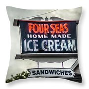 Cape Cod Four Seas Home Made Ice Cream Neon Sign Throw Pillow