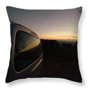 Car Sunset Throw Pillow