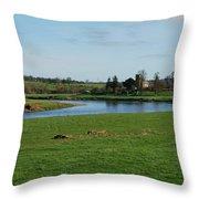 Carham Church And River Tweed Throw Pillow