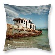 Caribbean Shipwreck 21002 Throw Pillow by Rick Veldman