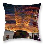 Carnival Rides Motion Blur Throw Pillow