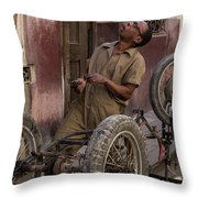 Cart In Alley Throw Pillow