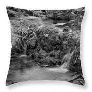 Cascades In A Peaceful Creek Scenery Throw Pillow