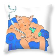 Cat Has Just Lost One Life Has Eight Lives Left Cartoon Throw Pillow