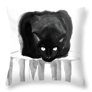 Cat On Wood Throw Pillow