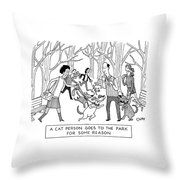Cat Person Inthe Park Throw Pillow