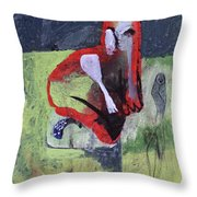 Cat With Other Garden Animals Throw Pillow