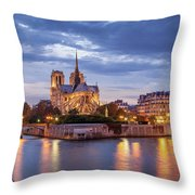Cathedral Notre Dame And River Seine Throw Pillow