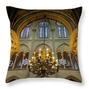 Cathedral Notre Dame Chandelier Throw Pillow by Brian Jannsen
