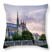 Cathedral Of Notre Dame From The Bridge - Paris France Throw Pillow