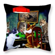 Cats Are Wild Poker Throw Pillow