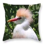 Cattle Egret Profile Throw Pillow
