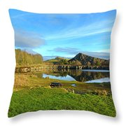Cawfield Quarry And Hadrians Wall In Northumberland Throw Pillow