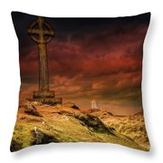 Celtic Cross Llanddwyn Island Throw Pillow