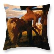 Centaur At The Village Blacksmith Shop 1888 Throw Pillow
