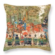 Central Park 1901 - Digital Remastered Edition Throw Pillow