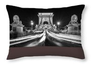 Chain Bridge At Night In Budapest Throw Pillow
