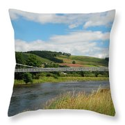 chainbridge over river Tweed at Melrose Throw Pillow