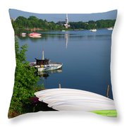 Chambly Basin And The Church Of St Joseph In Quebec Throw Pillow