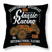 Championship Speed Race Classic Racing Throw Pillow