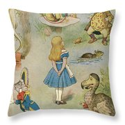 Characters From Alice In Wonderland  Throw Pillow