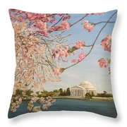 Cherry Blossoms At The Tidal Basin Throw Pillow