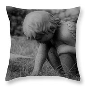Cherub In The Grass Throw Pillow