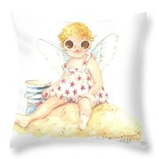 Cherub In The Sand Throw Pillow
