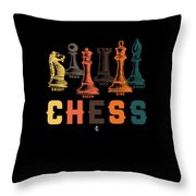 Chess Master Player Pawn Bishop Knight Queen King Graphic Throw Pillow