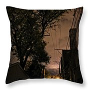 Chicago Alley At Night Throw Pillow