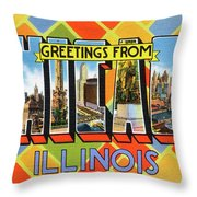Chicago Greetings - Version 1 Throw Pillow by Mark Miller