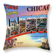 Chicago Greetings - Version 2 Throw Pillow by Mark Miller