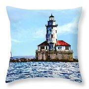 Chicago Il - Chicago Harbor Lighthouse Throw Pillow