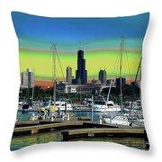 Chicago Marina Throw Pillow