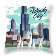 Chicago Poster - Vintage Travel Throw Pillow