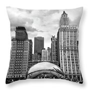 Chicago Skyline In Black And White Throw Pillow