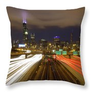 Chicago Skyline South Side View Throw Pillow