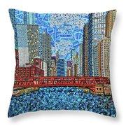 Chicago Wells Street Bridge 2 Throw Pillow