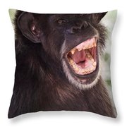 Chimp With Mouth Open Throw Pillow