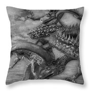 Chinese Dragons In Black And White Throw Pillow