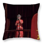 Chinese Opera Singer Onstage Throw Pillow