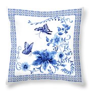 Chinoiserie Blue And White Pagoda With Stylized Flowers Butterflies And Chinese Chippendale Border Throw Pillow