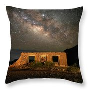 Chisos Mountain Homestead Under The Milky Way Throw Pillow