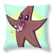 Chocolate Starfish Throw Pillow