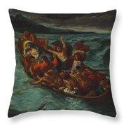 Christ Asleep During The Tempest  Throw Pillow