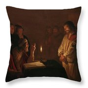 Christ Before The High Priest, 1617 Throw Pillow
