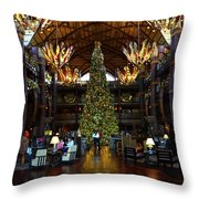 Christmas At The Ak Lodge Throw Pillow